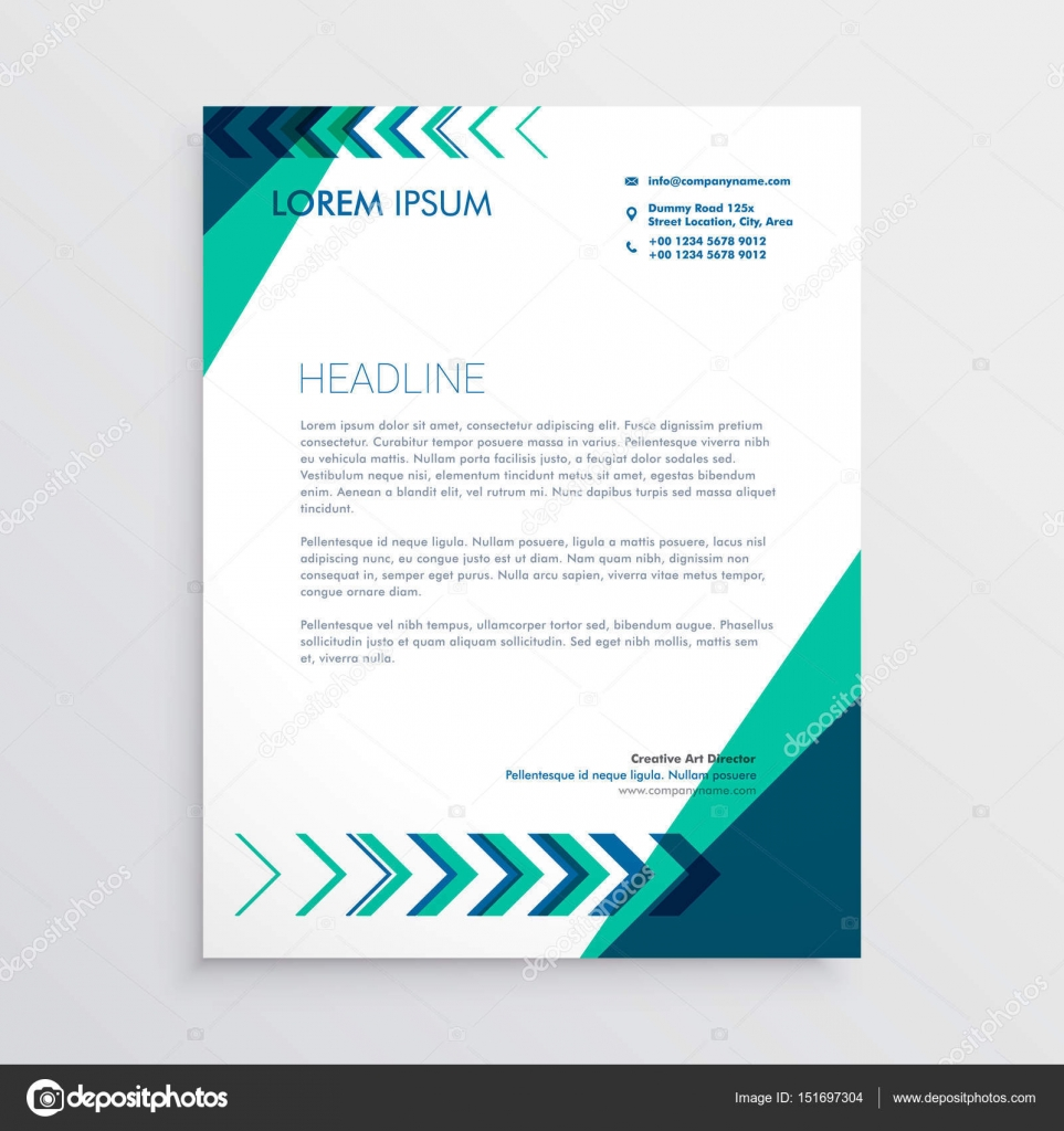 Kreative Briefkopf Design In Grün Und Blau Farbe Mit Pfeil