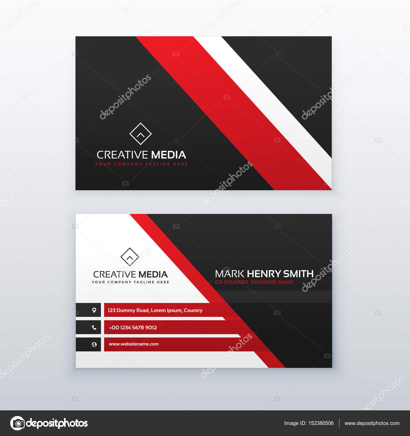 Rouge Et Noire Carte De Visite Professionnelle Votre Marque Image Vectorielle