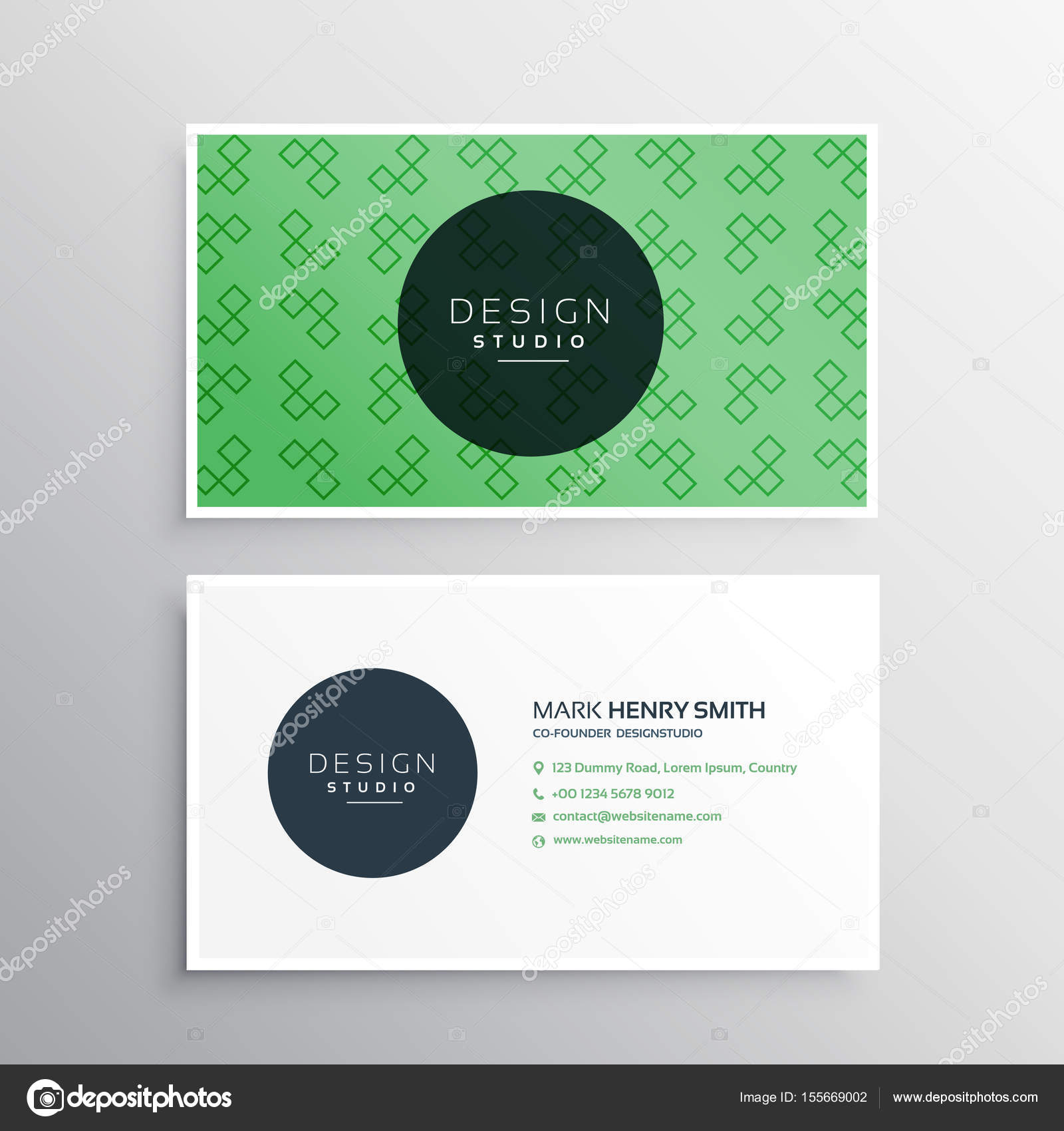 Green professional elegant business card design with pattern stock green professional elegant business card design with pattern stock vector reheart Gallery