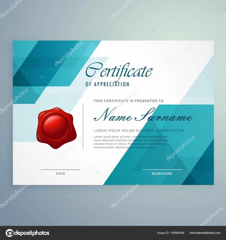 moderne abstrakte blauen Design Zertifikatvorlage — Stockvektor ...