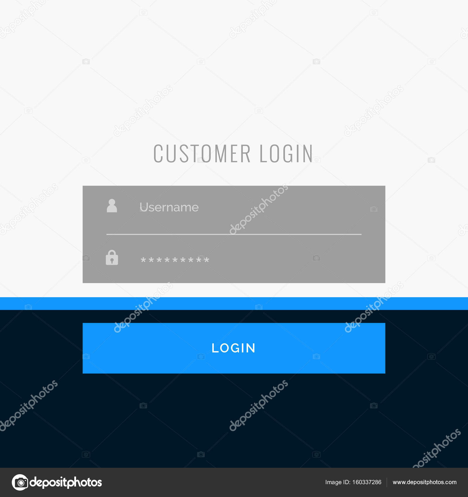 Flat Login Form Template Design For Your Web Or App Projects Stock