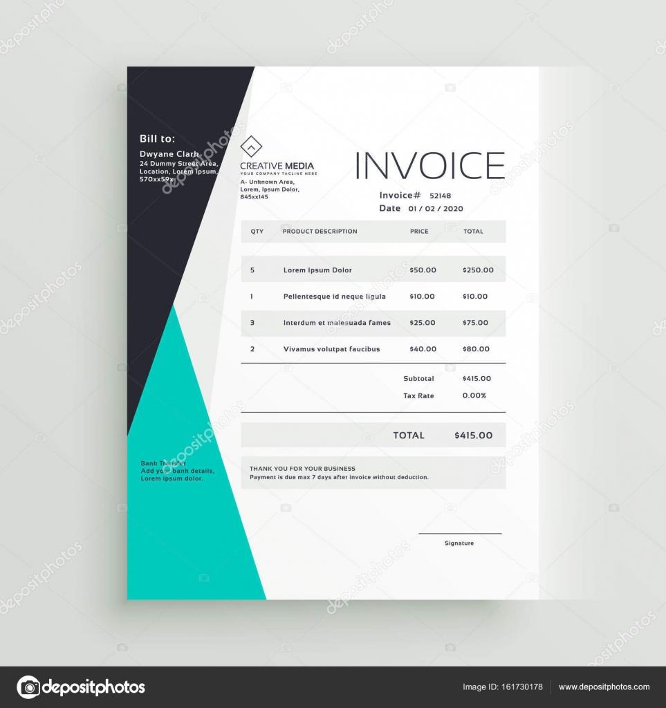 diseño creativo de negocios elegante factura plantilla — Vector de ...