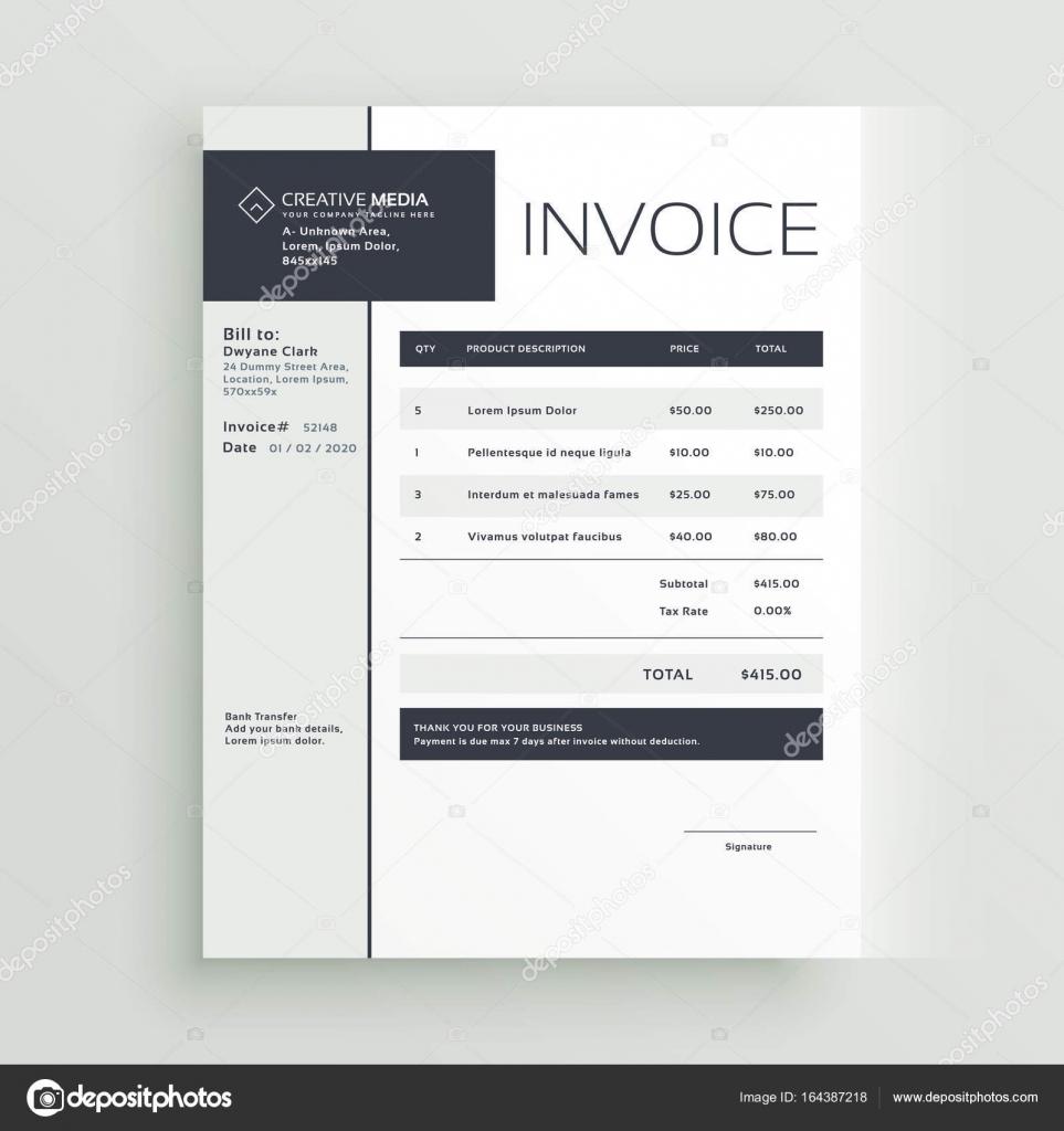 factuur design creatieve factuur sjabloon vector design — Stockvector © StarLine
