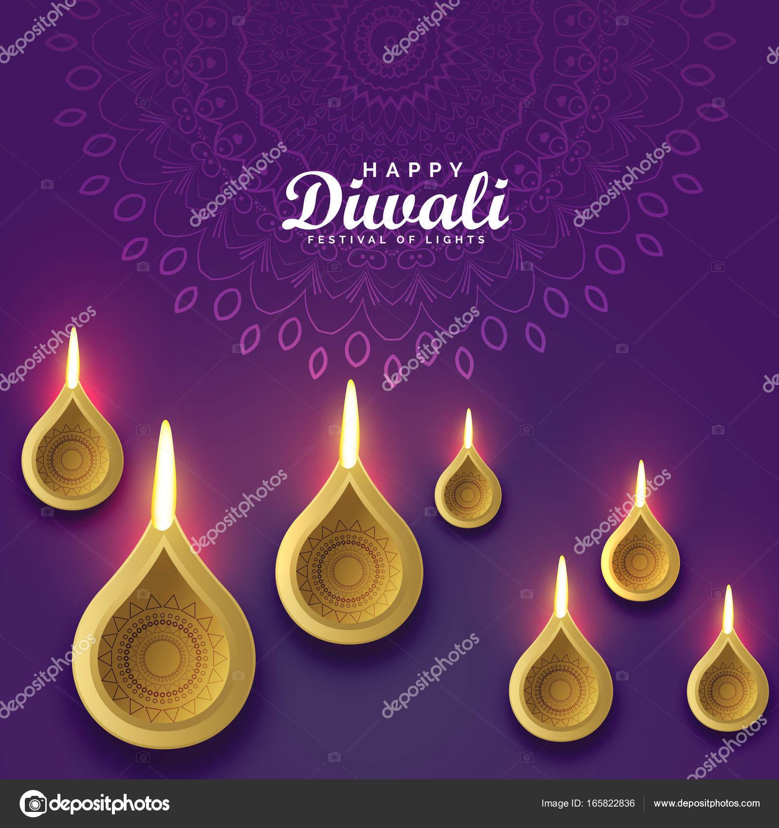 Diwali Greeting Card Design With Golden Diya Stock Vector