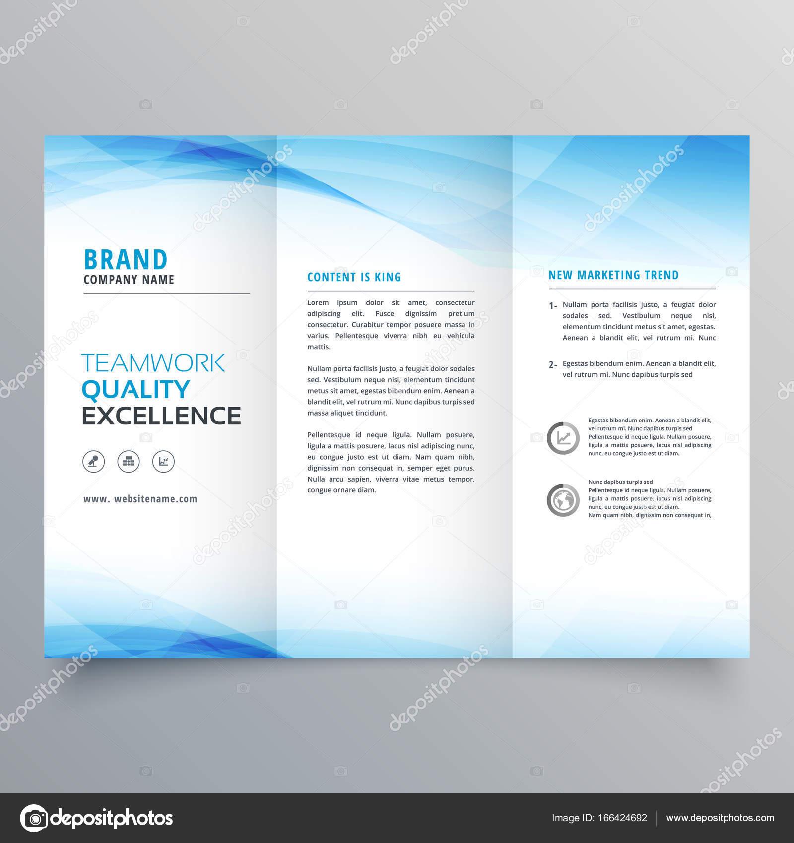 plantilla flyer elegante negocio azul triple folleto diseño — Vector ...