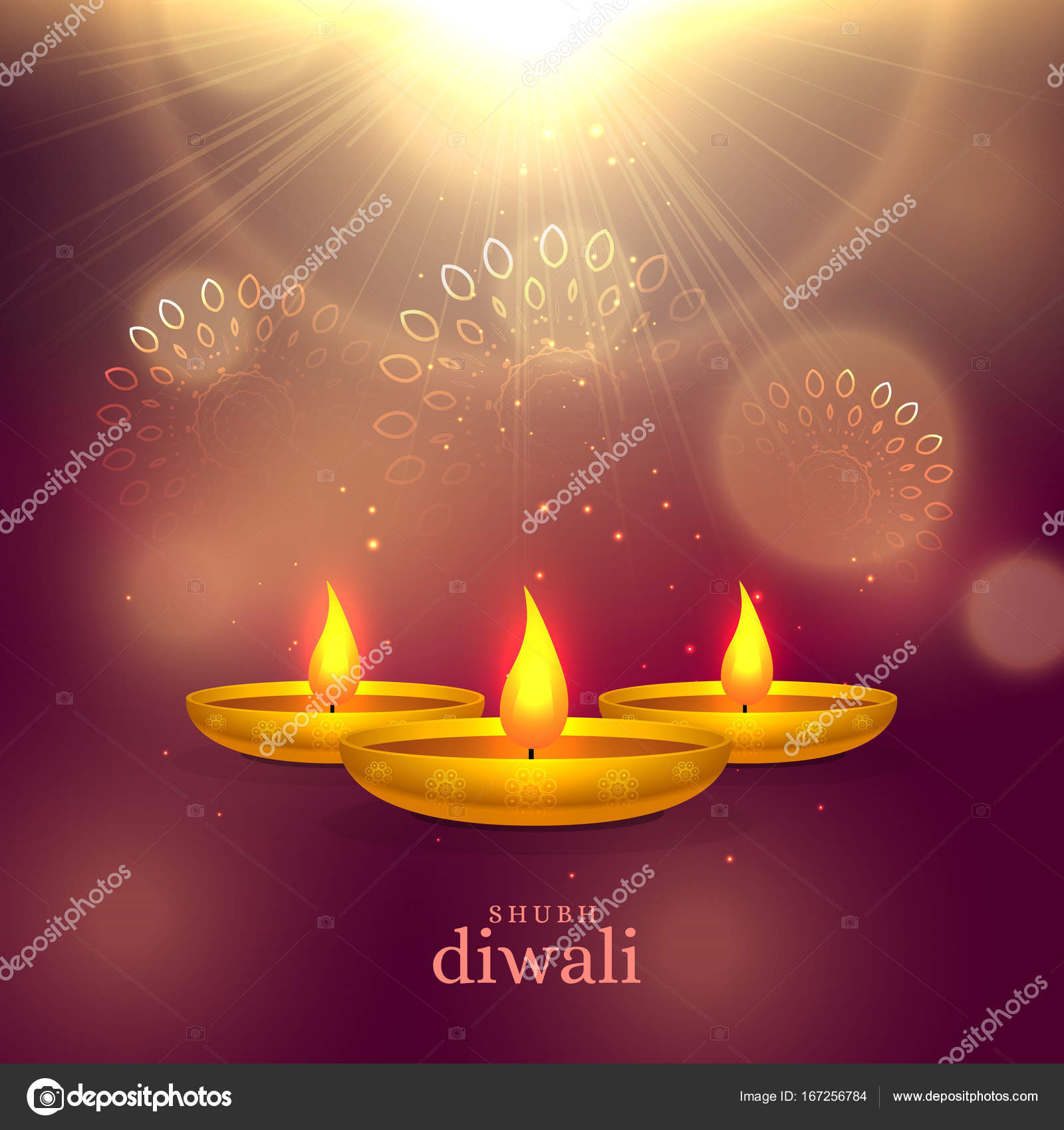 Shiny Diwali Festival Greeting Background With Golden Diya And L