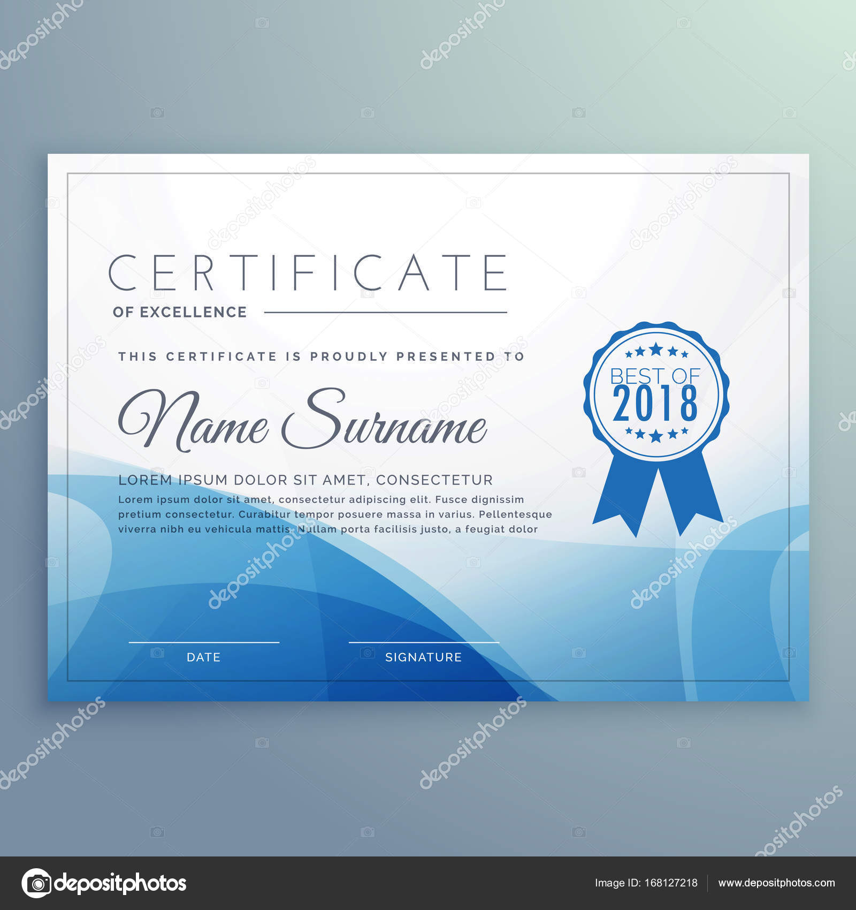 blaue Zertifikat Vorlage Design Vektor — Stockvektor © StarLine ...