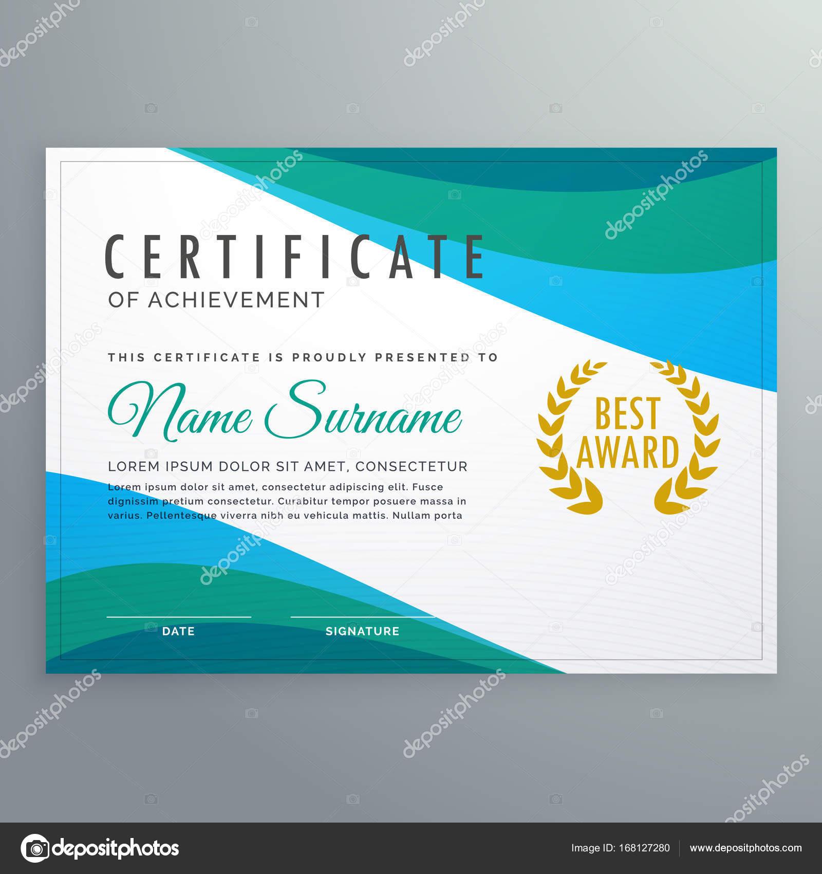 certificado de onda azul Resumen de diseño de plantillas de logro ...