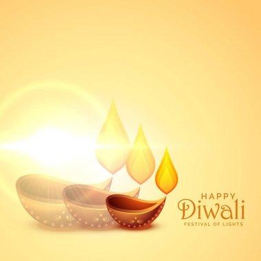 elegant happy diwali diya lamps festival background
