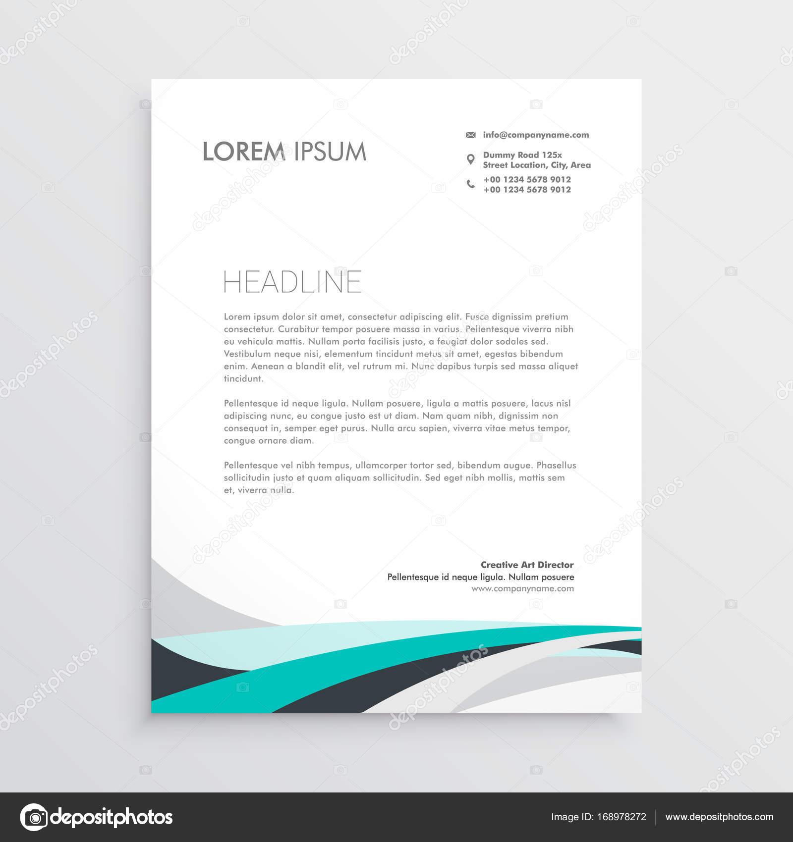 Briefkopf Moderne Vektor Design Vorlage Mit Blauen Gewellte Form