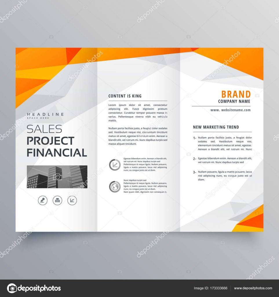plantilla de triple naranja Resumen folleto diseño negocio — Archivo ...