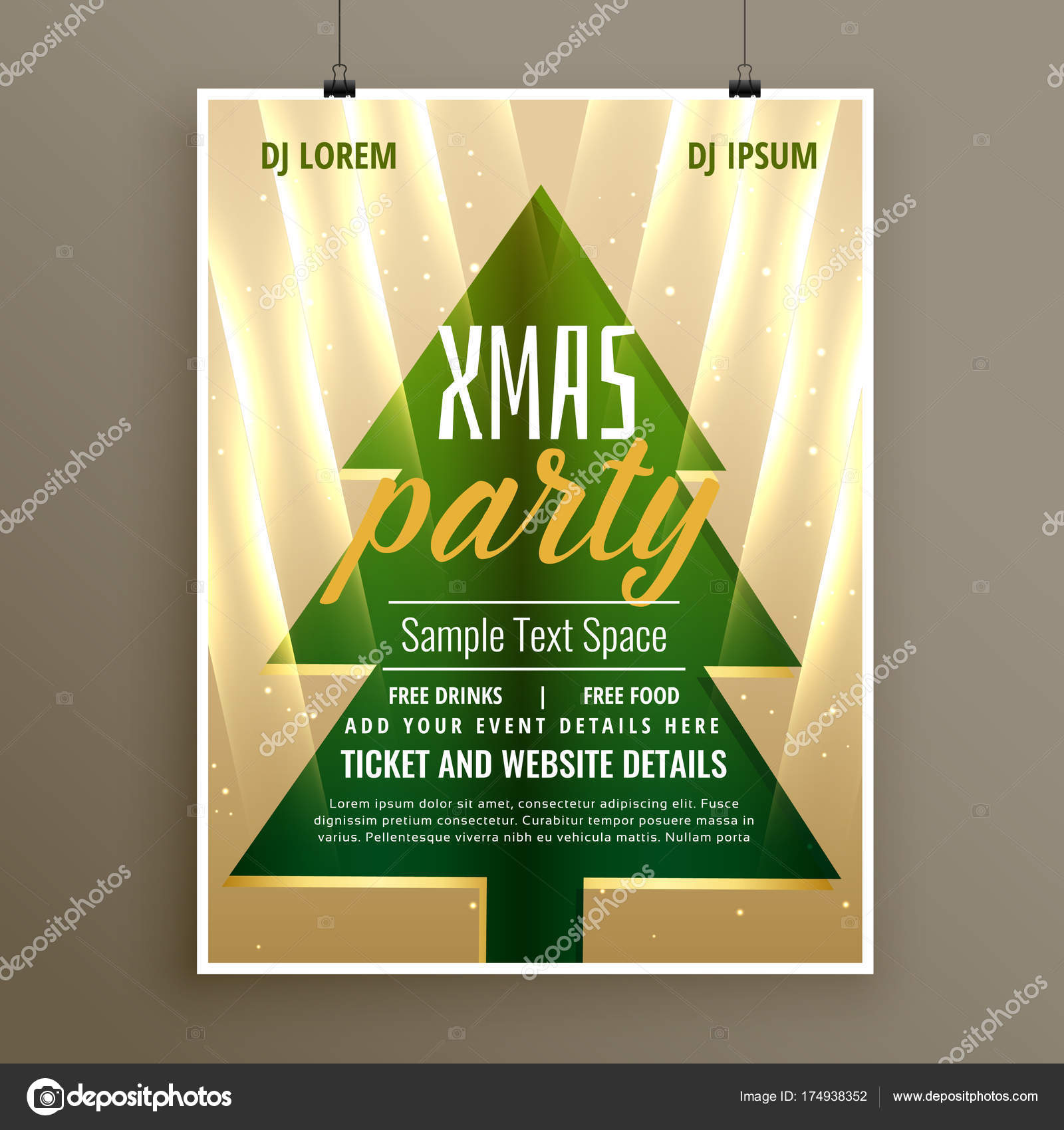 stilvolle Vorlage Flyer Design für Weihnachtsfeier — Stockvektor ...