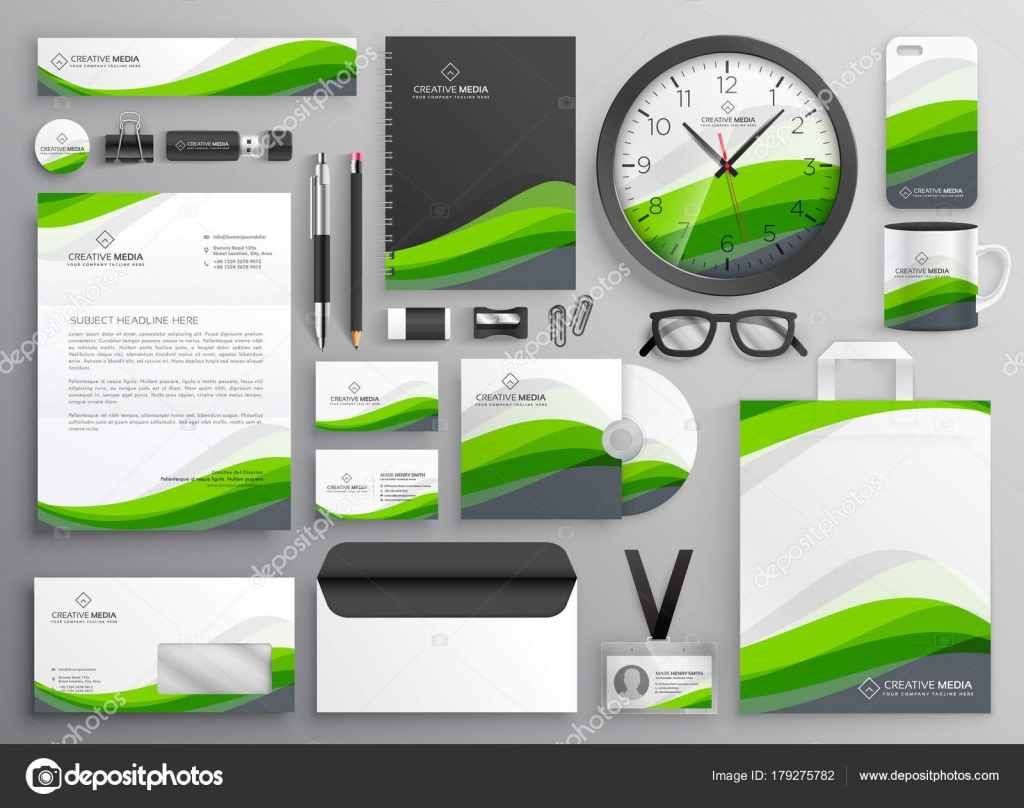 Green wavy business stationery set template design for your bran green wavy business stationery set template design for your bran stock vector cheaphphosting Image collections