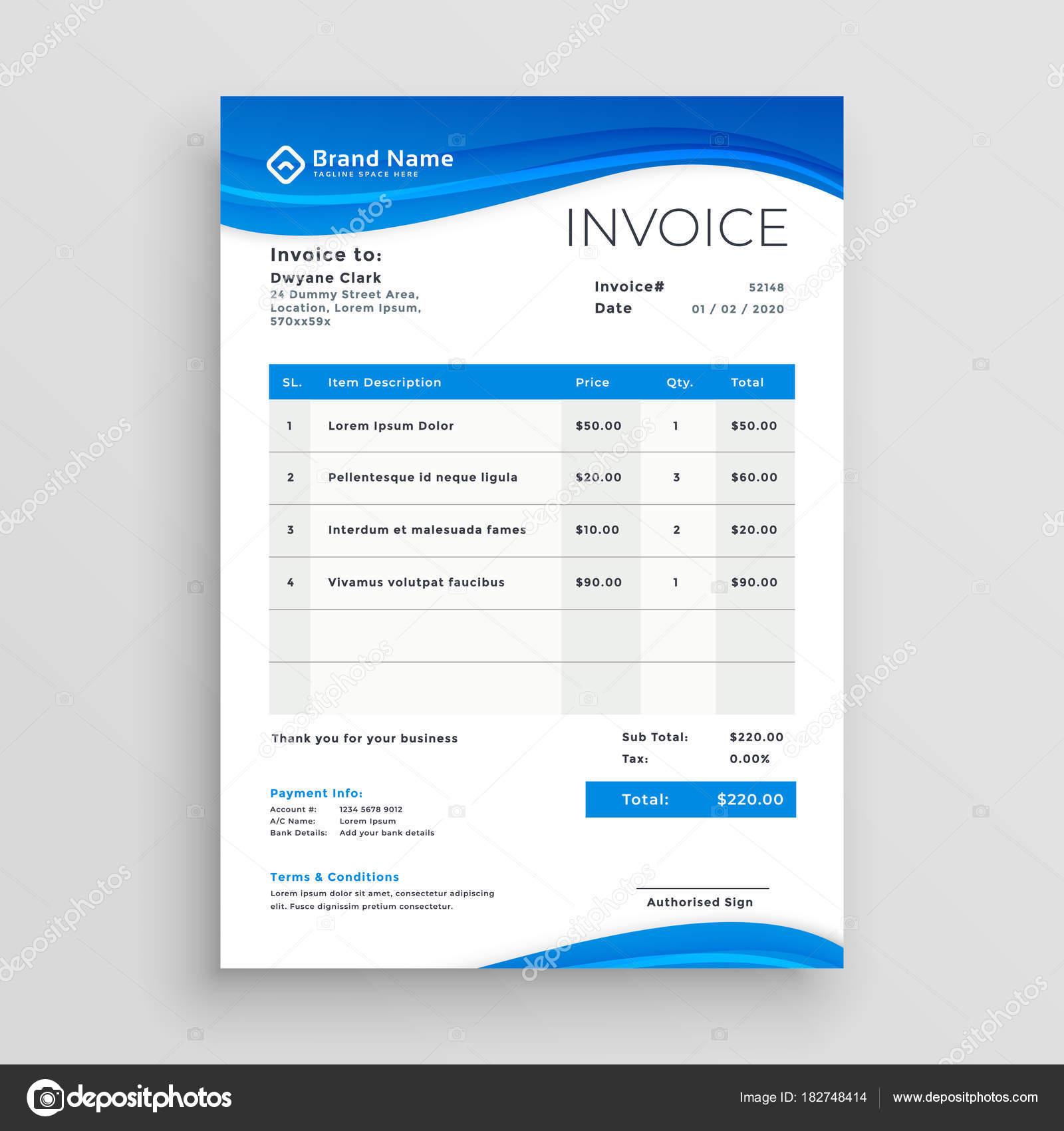 diseño de plantilla de factura vector azul — Archivo Imágenes ...