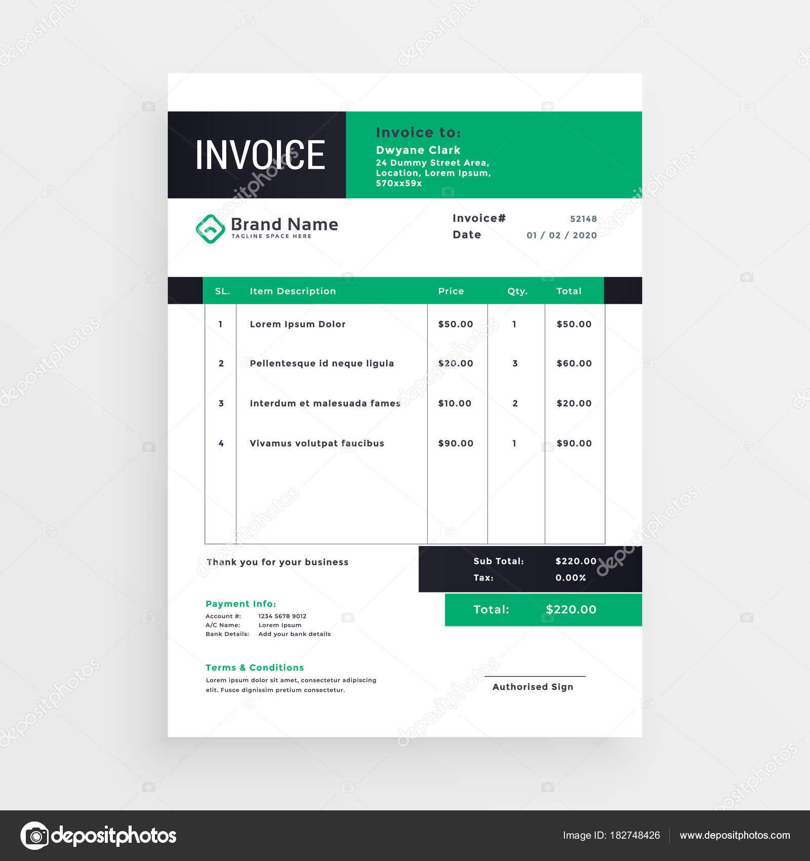 invoice template layout design vector — Stock Vector © StarLine ...