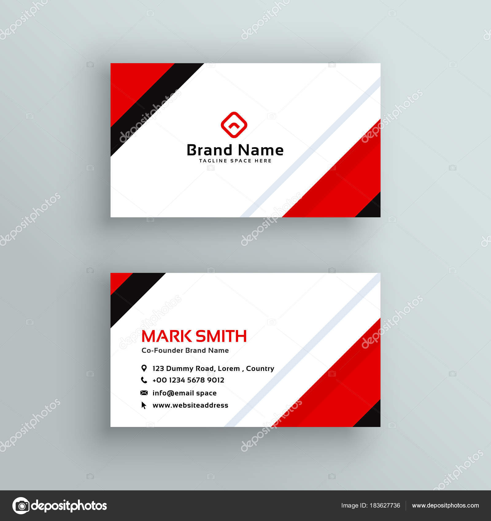 modern professional red business card design — Stock Vector ...