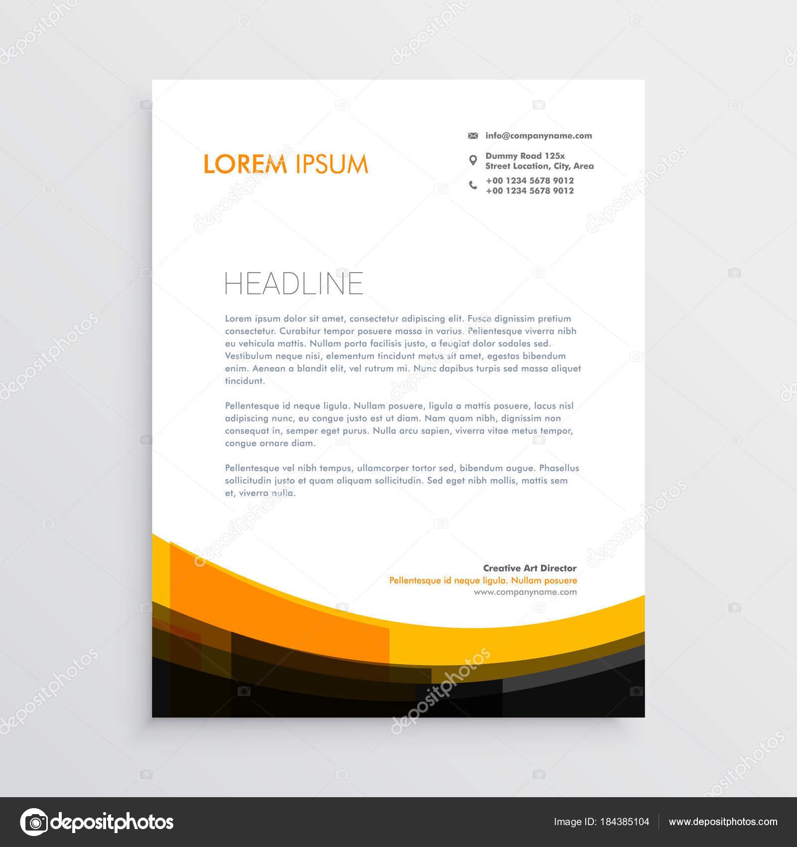 Elegant Orange Black Letterhead Design Stock Vector