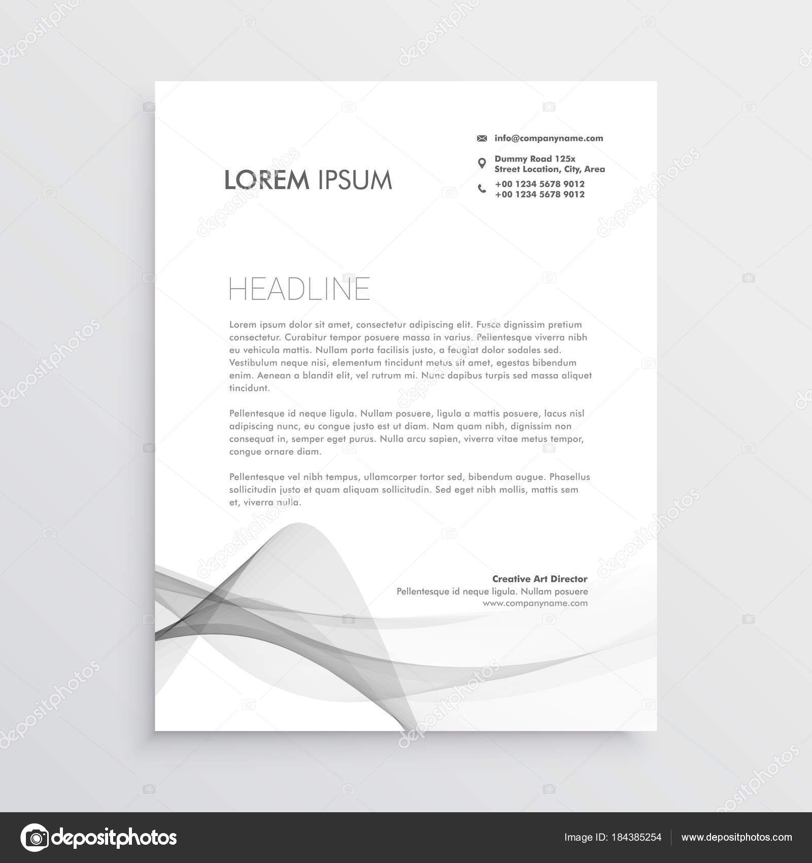 abstract professional letterhead design template stock vector