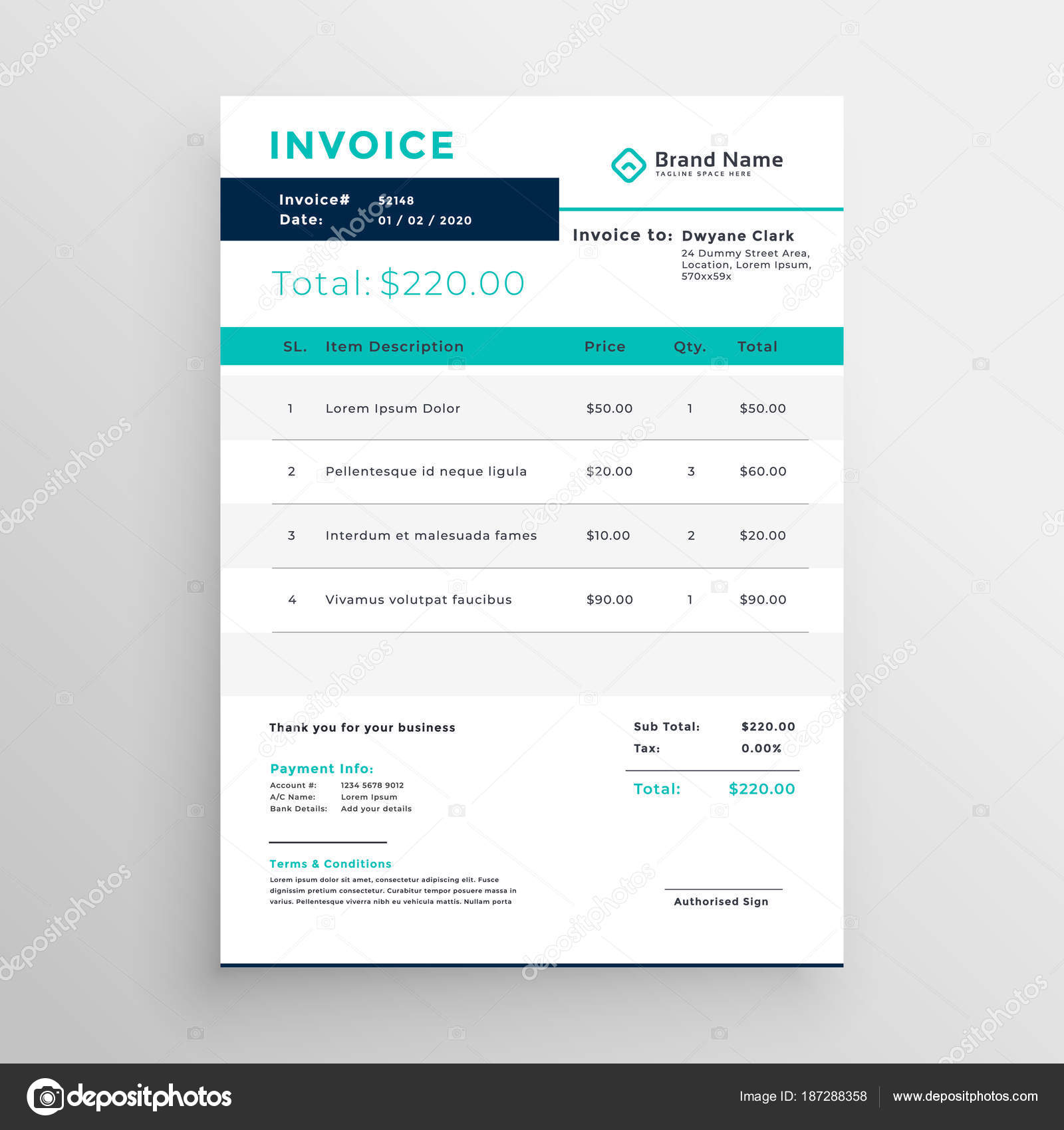 Modern Invoice Template Design For Your Business Stock Vector
