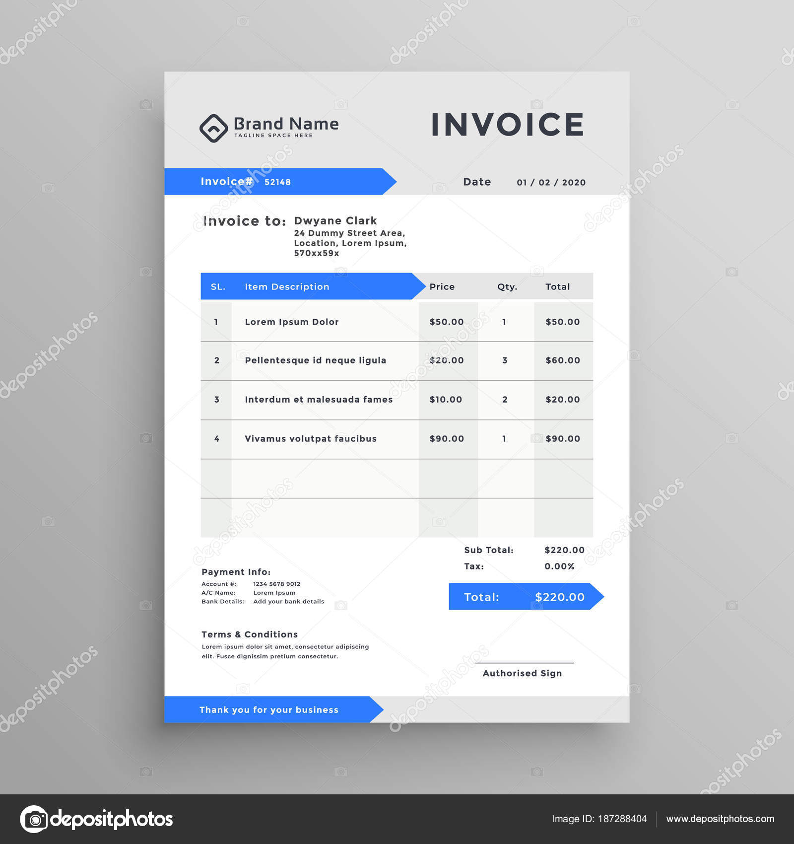 diseño de plantilla de factura elegante vector gris azul — Vector de ...
