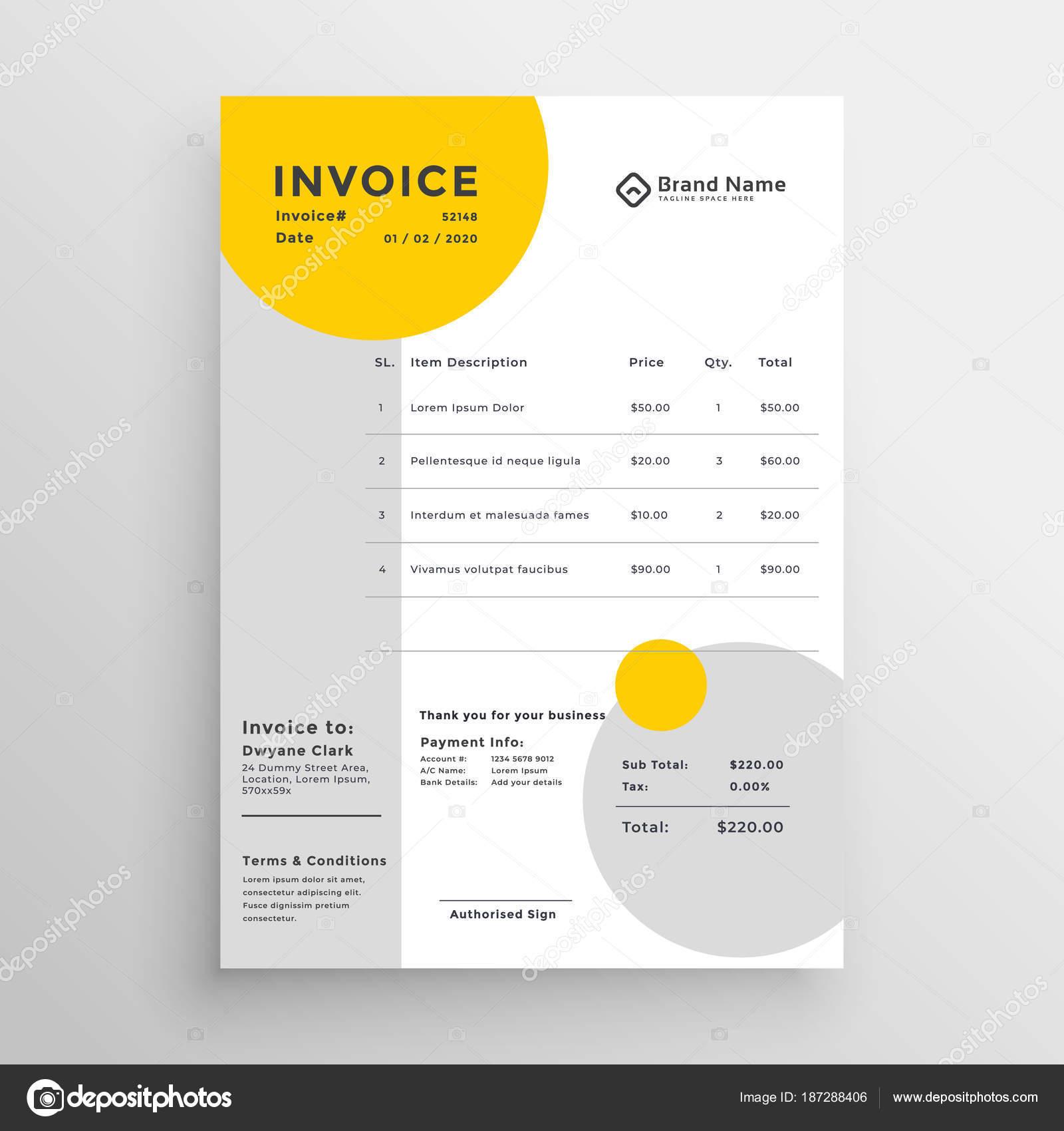 creative clean invoice template design stock vector starline
