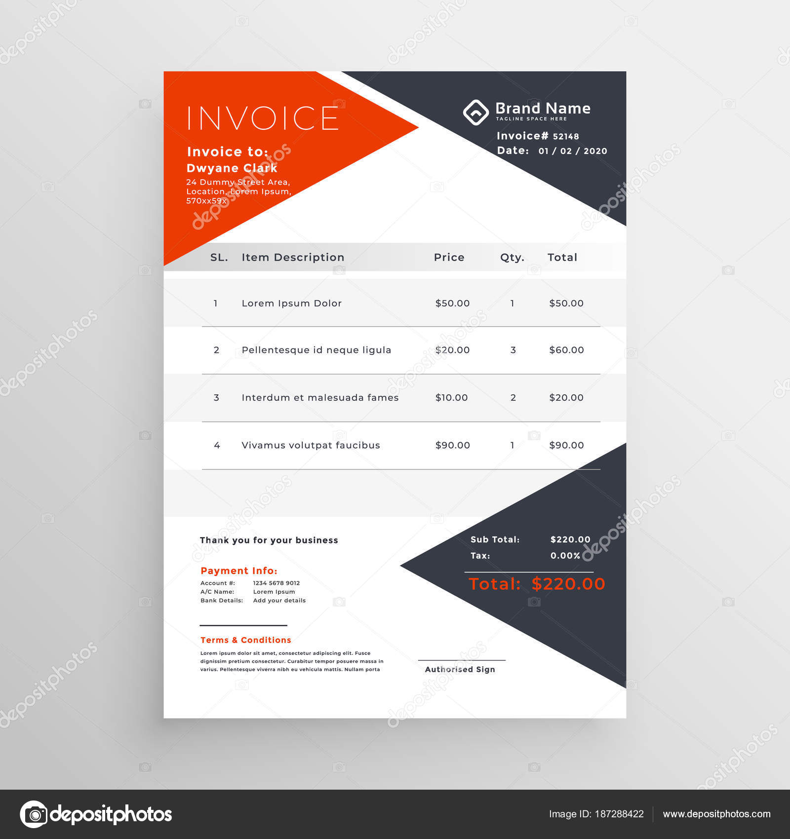 invoice template design for your company business stock vector
