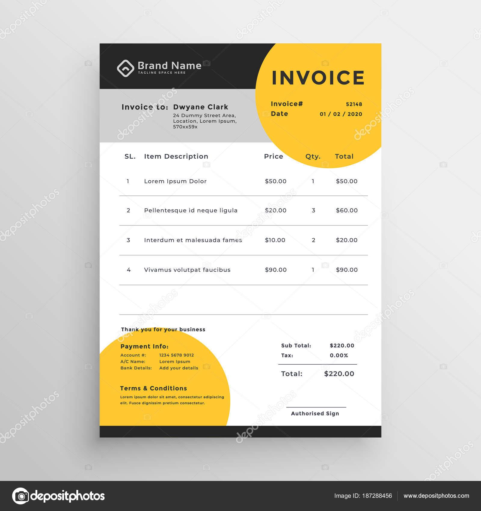 Professionelle Kreative Vektor Rechnung Vorlage Design Stockvektor