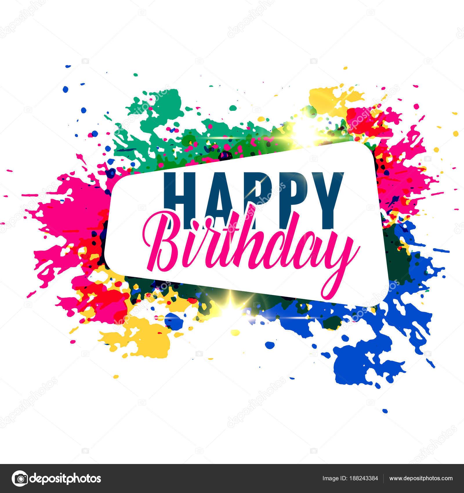 Abstract Colorful Splash Happy Birthday Greeting Design Stock