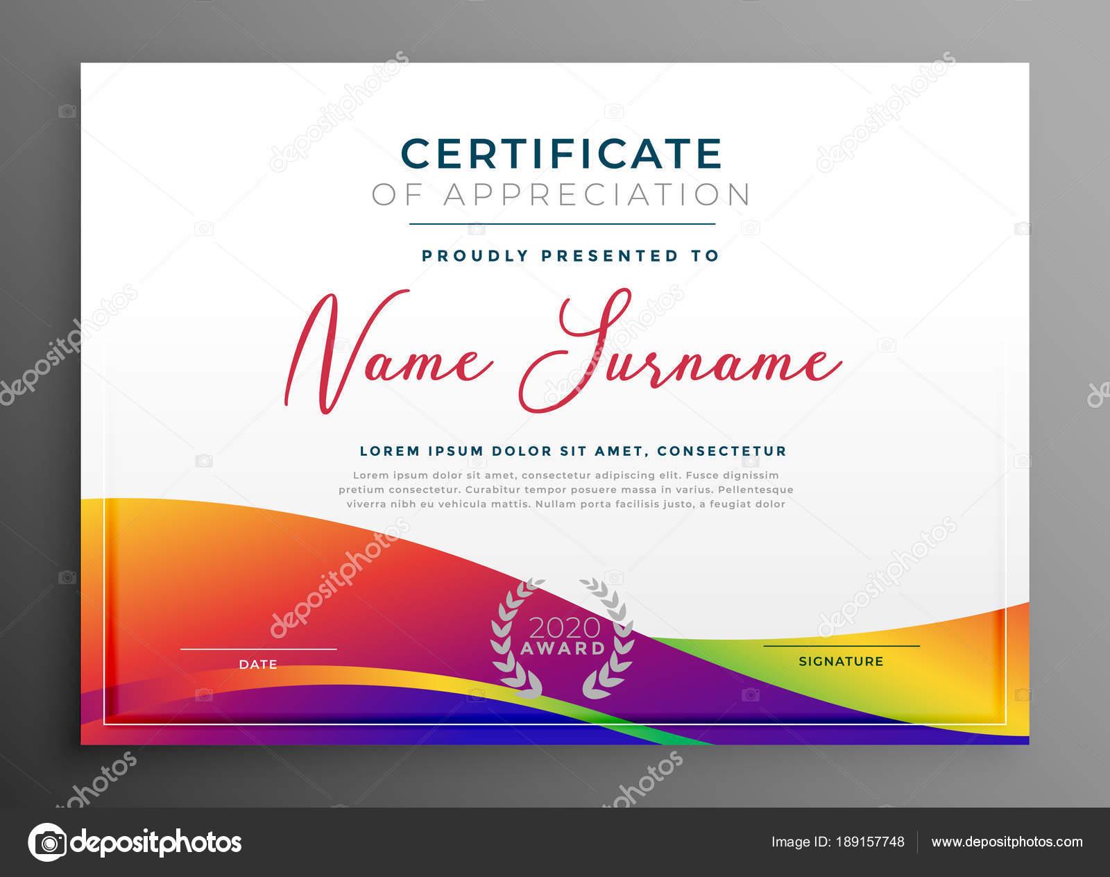 Zertifikat-Vorlage mit bunten lebhaften gewellte Form — Stockvektor ...