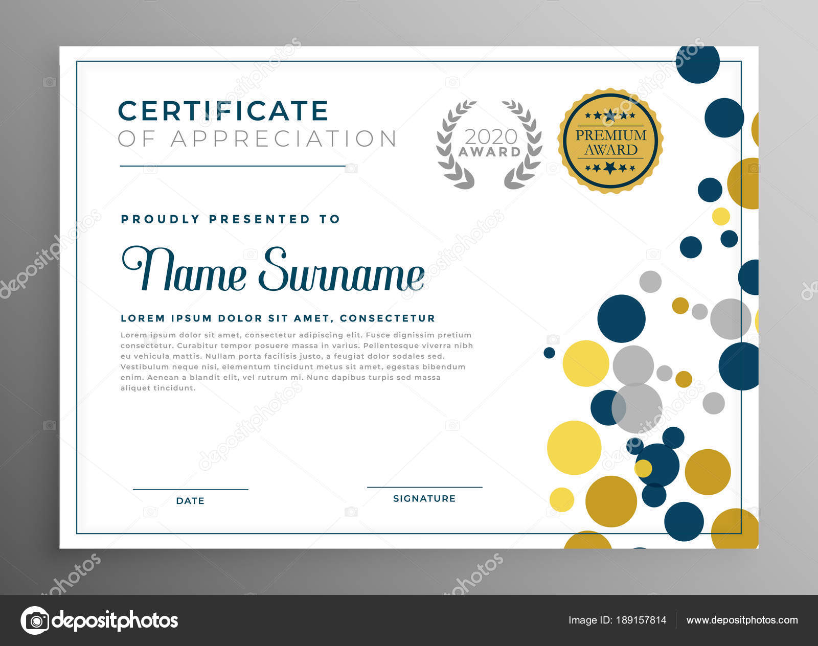 Creative Circles Certificate Template Design Stock Vector