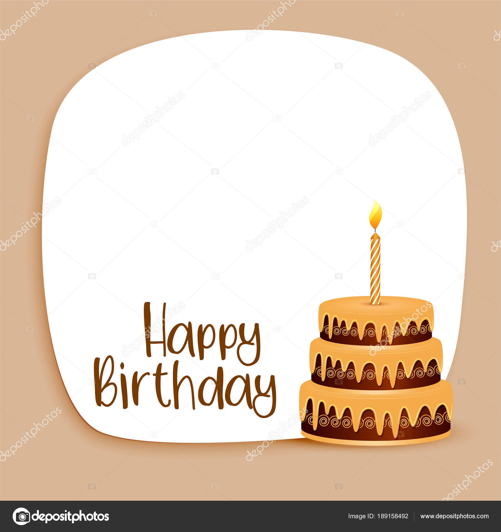 Happy Birthday Card Design With Text Space And Cake Stock Vector