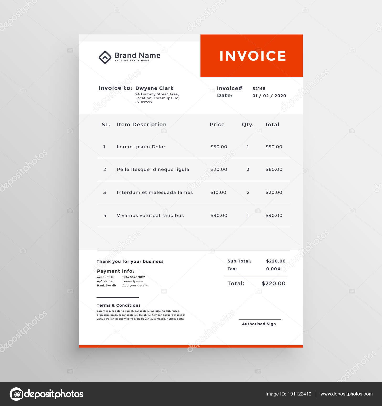 diseño de plantilla de factura limpia simple — Archivo Imágenes ...
