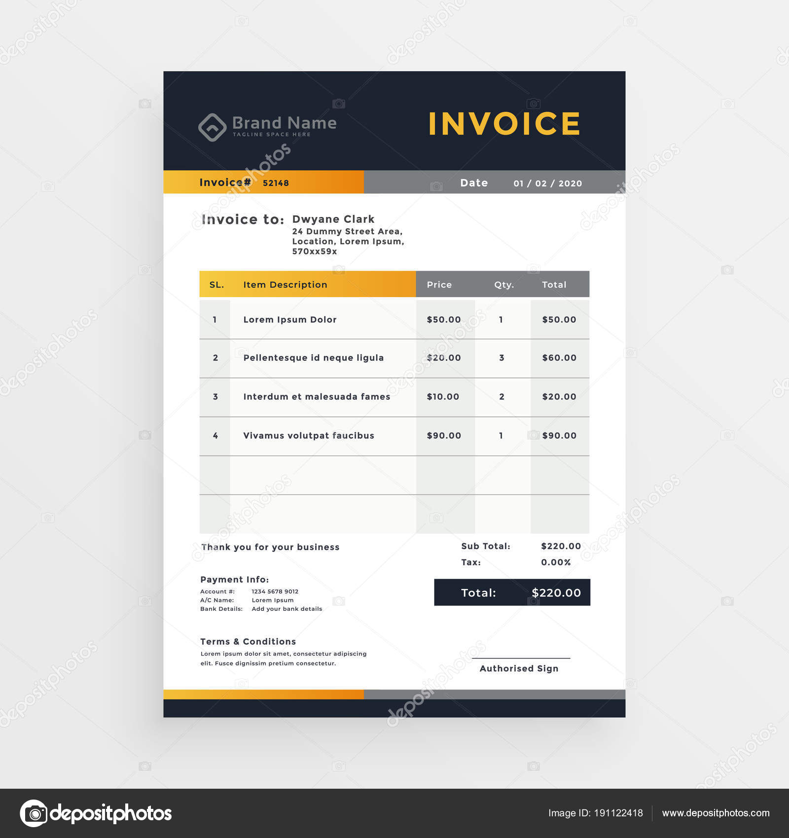 Professional Business Invoice Template Design Image Vectorielle