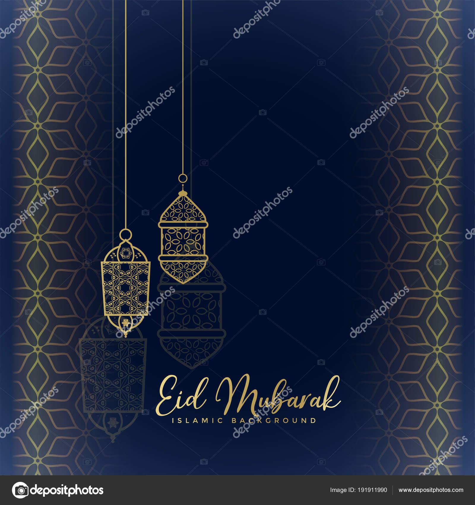 Eid Mubarak Greeting With Hanging Lanterns Stock Vector Starline
