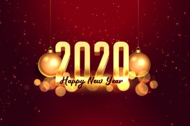 2020 red and gold happy new year celebration background
