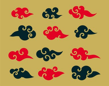 Decorative red and black chinese clouds set icon