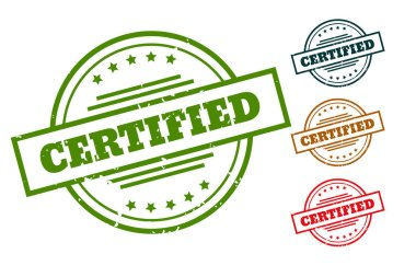 Certified rubber stamp seals for approved products icon