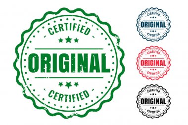 Original and certified quality rubber seal stamps set icon