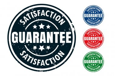 Satisfaction guarantee rubber stamp seal design set icon