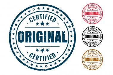 Original certified product rubber stamp set of four icon