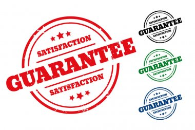 Satisfaction guarantee rubber stamp label set of four icon