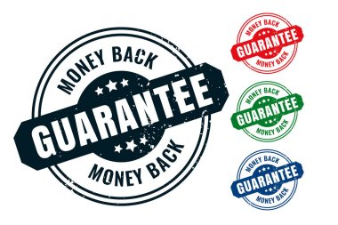 Money back guarantee rubber label stamp seal set icon