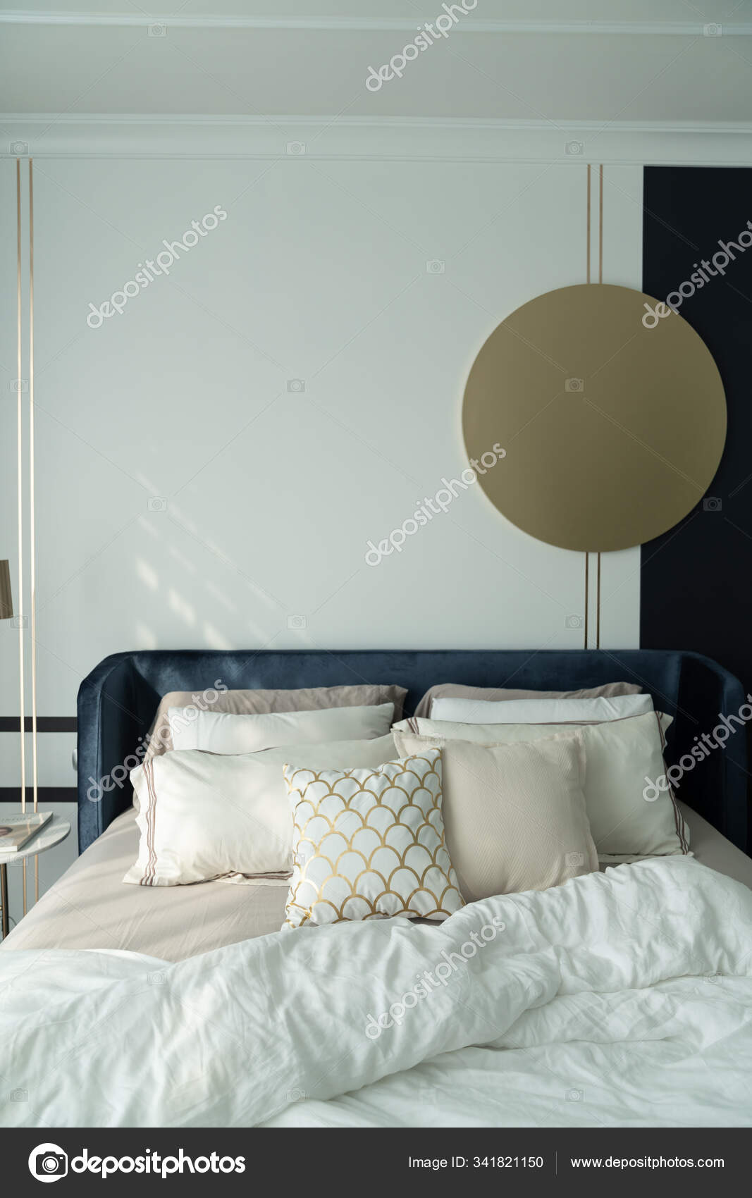 Bedroom Corner Navy Blue Velvet Bed With Soft Pillows Setting Decorated With Circular Marble Night Table And Navy Blue Paint Wall In The Background Cozy Interior Design Stock Photo C Nmc2s 341821150