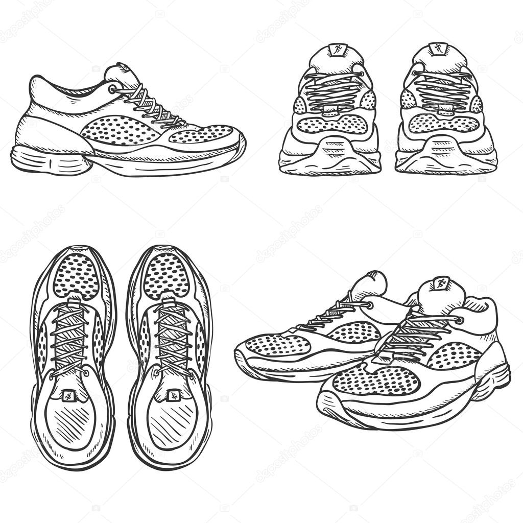 Set of Sketch Running Shoes. — Stock