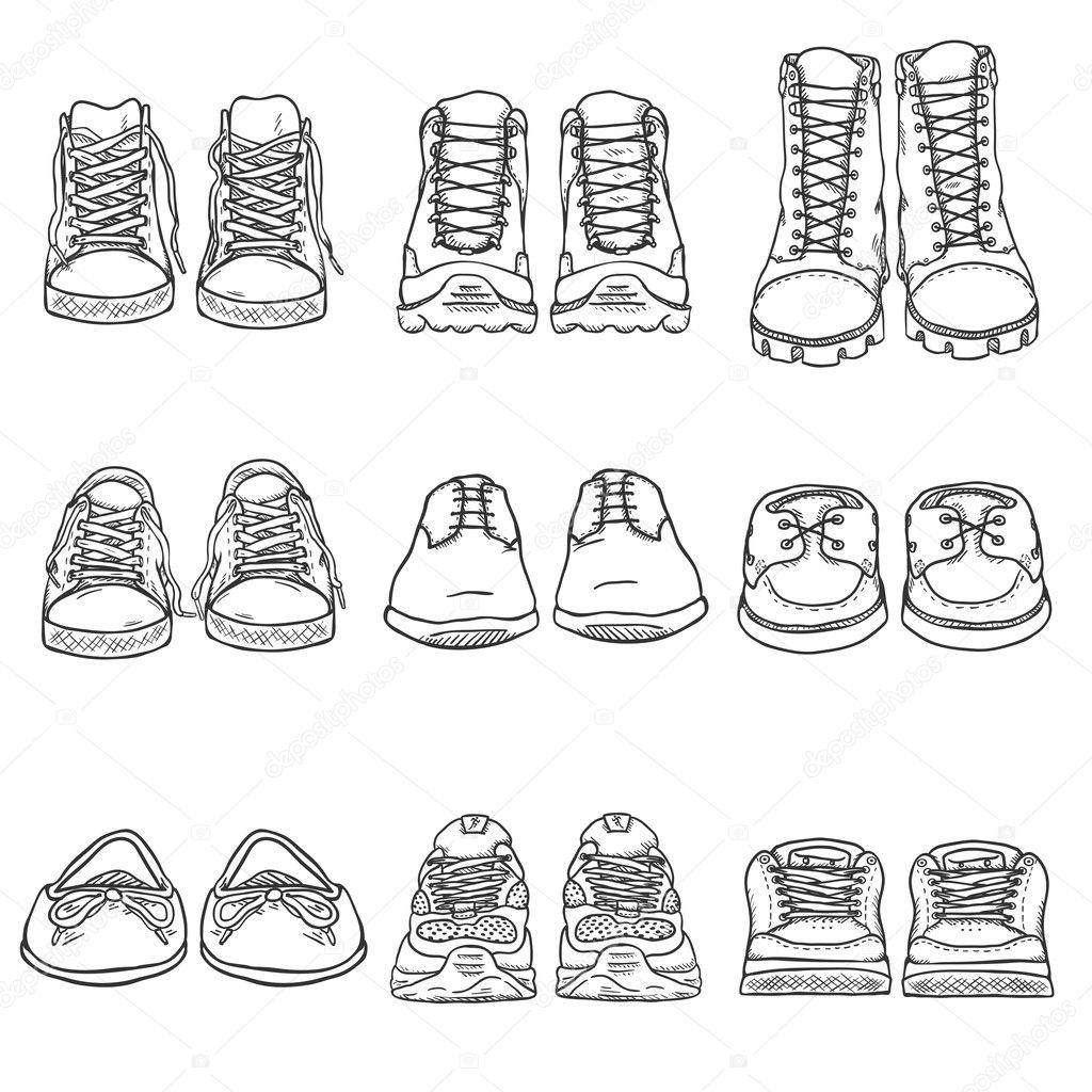 Skizze Schuhe Elemente Stockvektor C Nikiteev 127187602