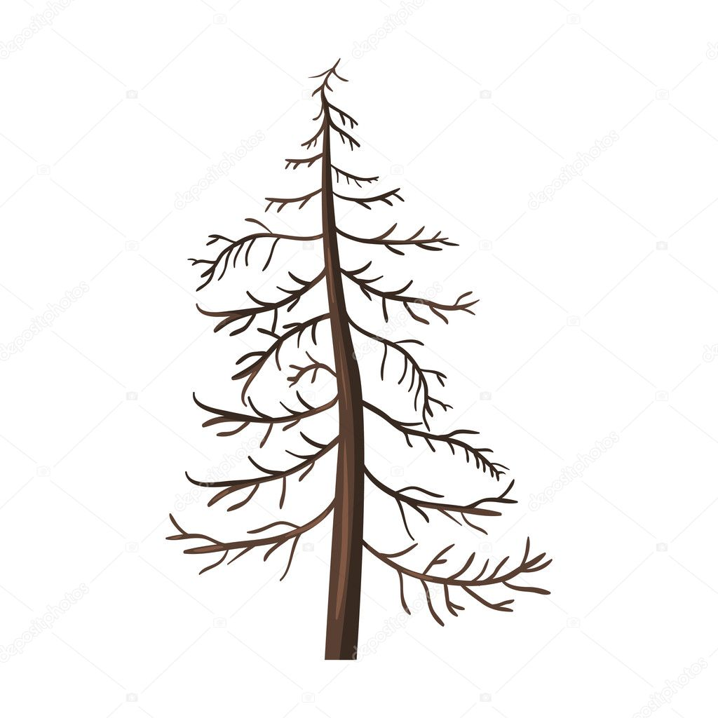 Single Cartoon Brown Bare Pine Tree