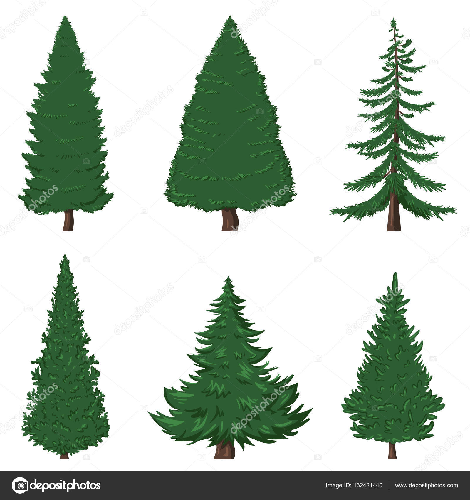 set of cartoon pine trees stock vector nikiteev 132421440 rh depositphotos com Cartoon Palm Tree Cartoon Oak Tree