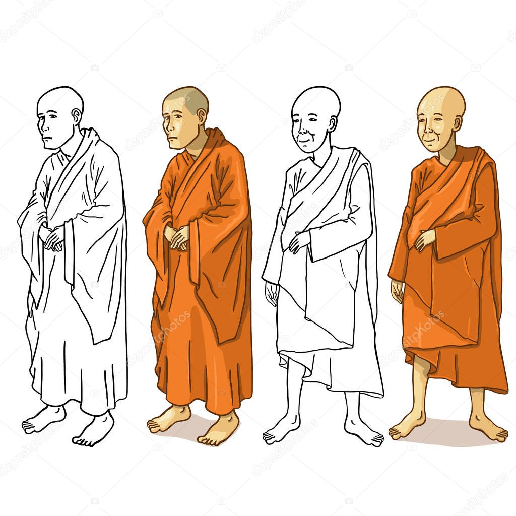 Set of Buddhist Monk Characters