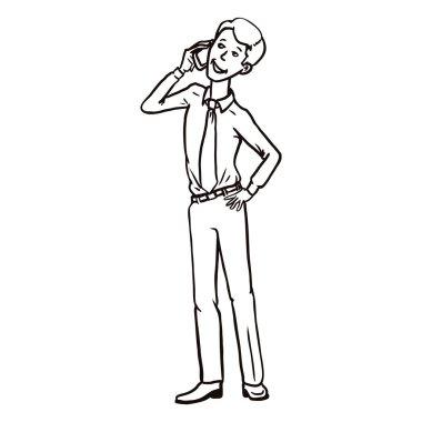 Single Line Art Business Character.