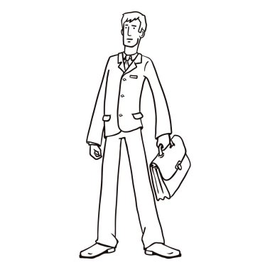Line Art Business Character with a Briefcase